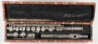 Silver 1867 patent flute, no trills, with silver keywork, signed